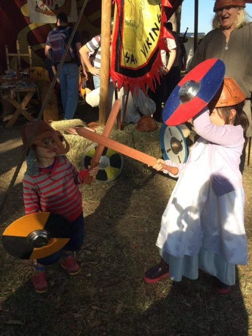 Abbey Medieval Festival Kid Knights fighting Renee Gusa Moreton Bay Region