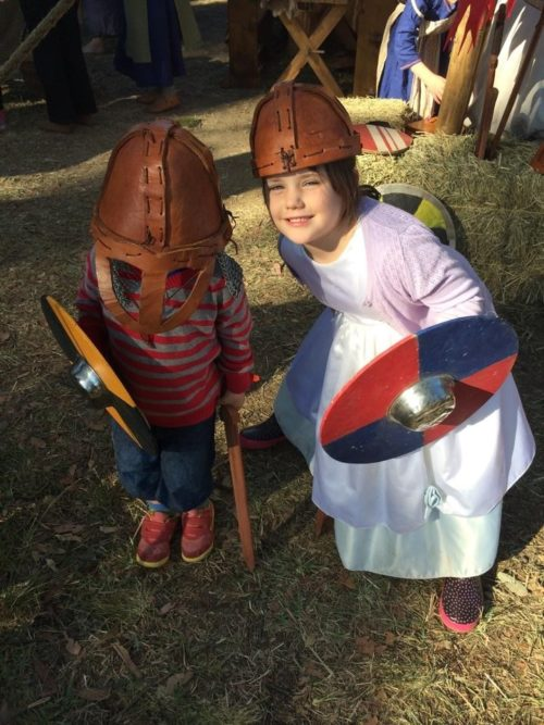 Abbey Medieval Festival Kid Knights helmets Renee Gusa Moreton Bay Region