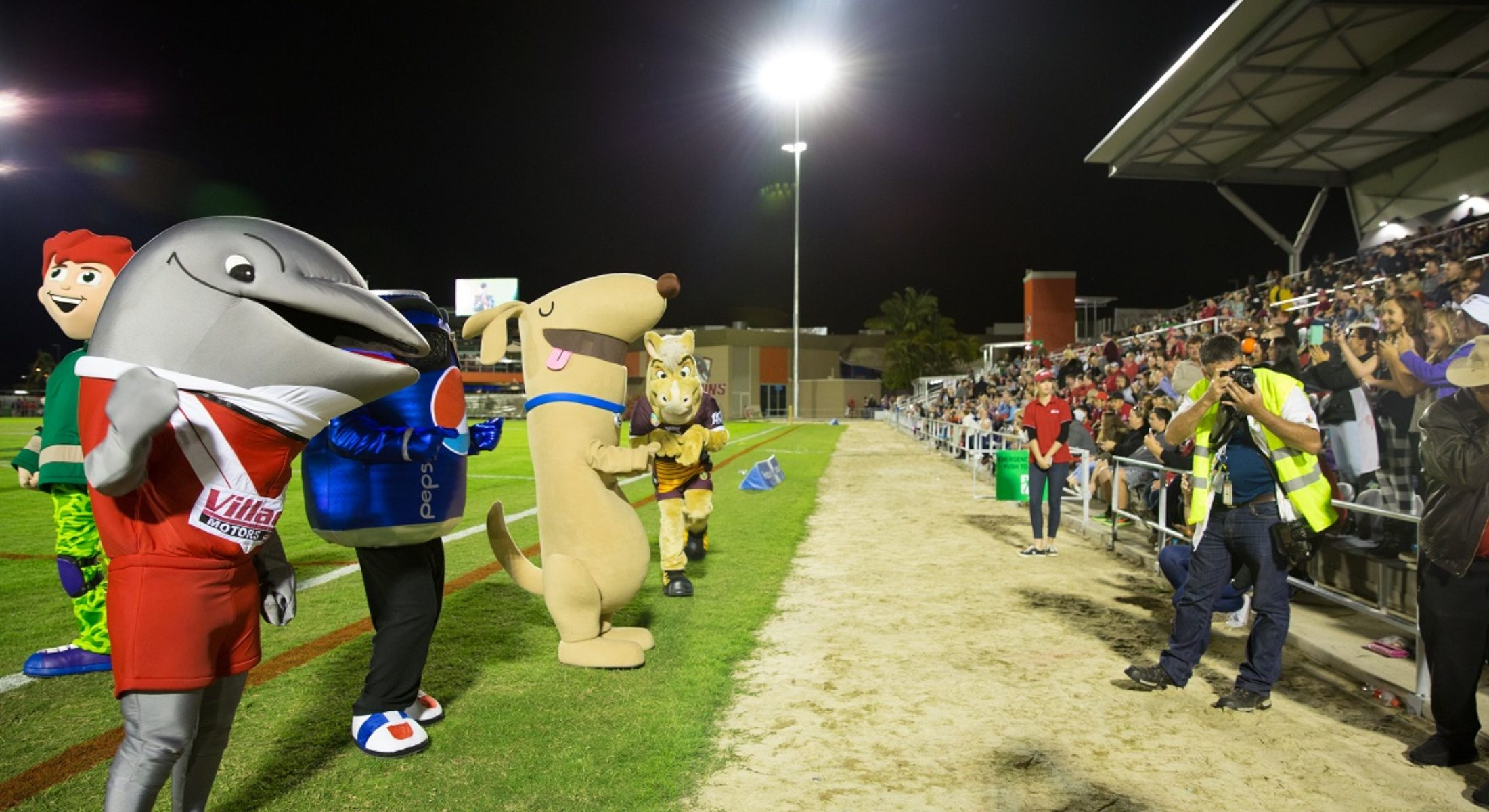 Redcliffe Dolphins Rugby Stadium Grand Opening Mascots Broncos Big Dog