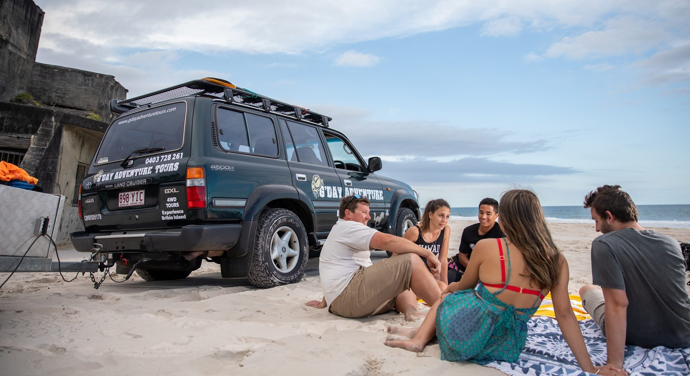 Gday Adventure Tours Fort Bribie Island Group Tour Picnic