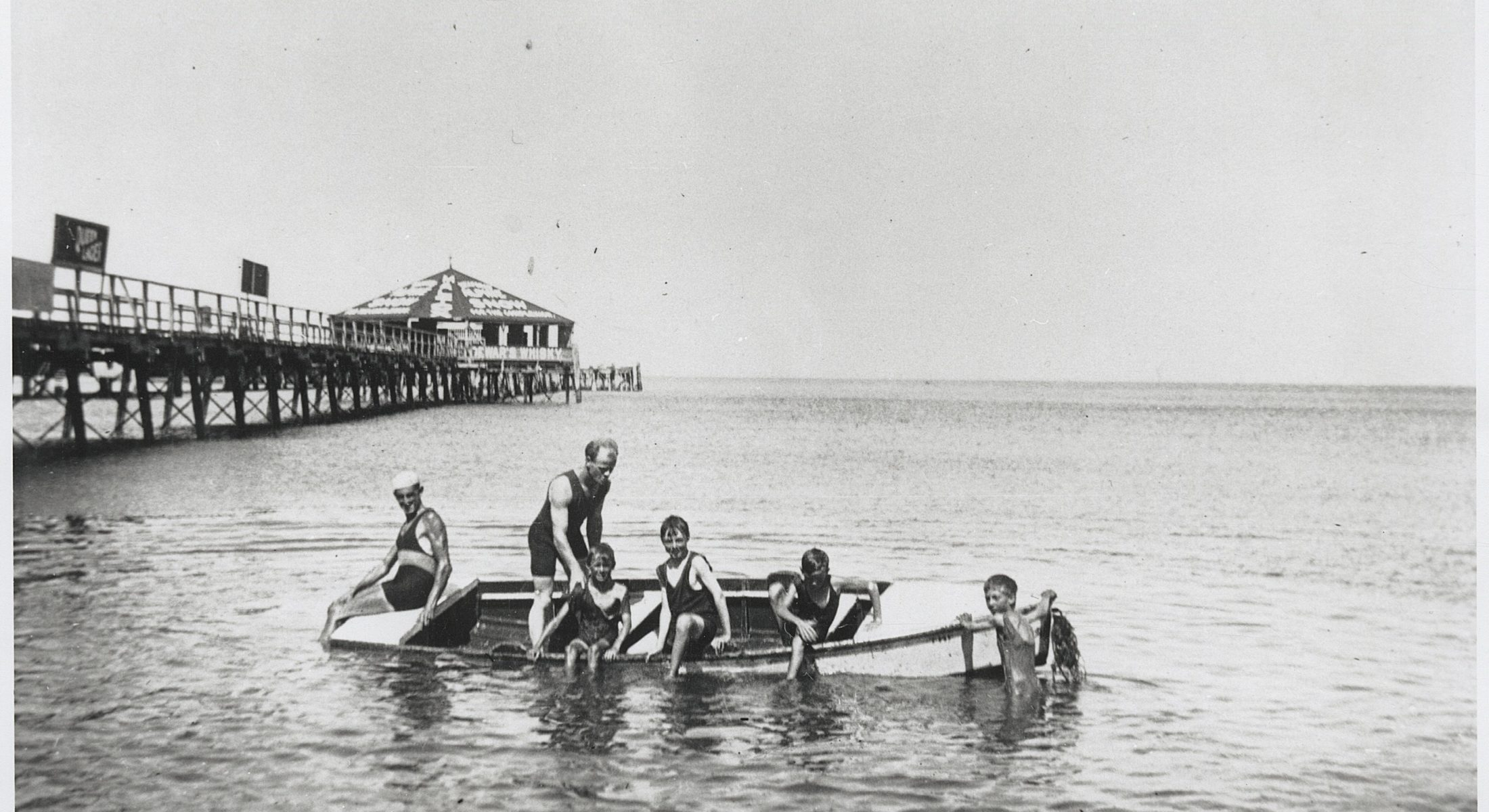 Boys Playing In Front Of The First Redcliffe Jetty Ca1918