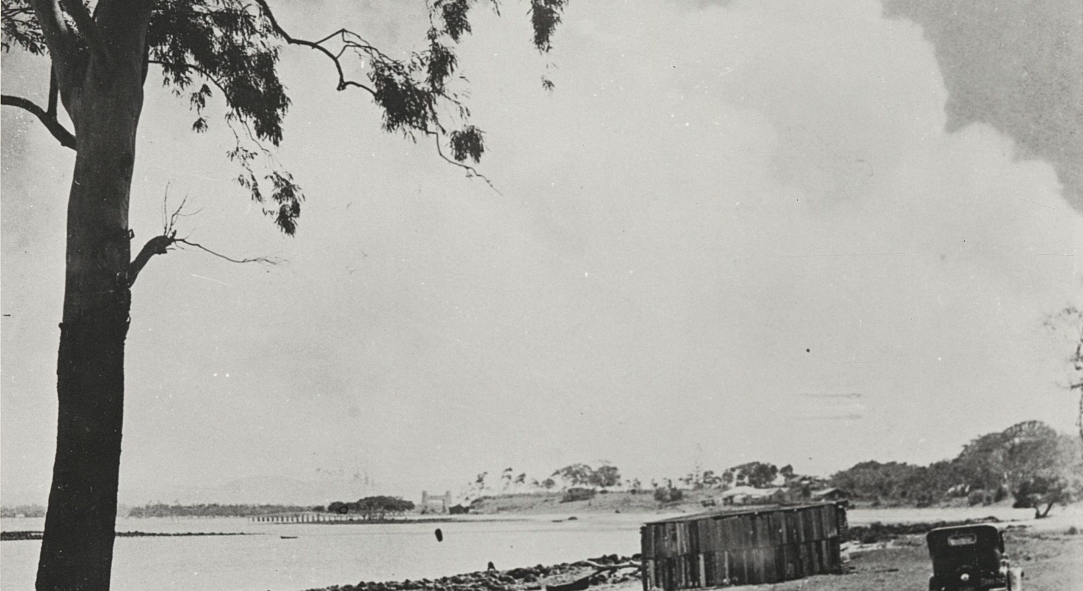 Car On The Unsealed Road At Clontarf Looking Towards The Hornibrook Highway Ca  1935